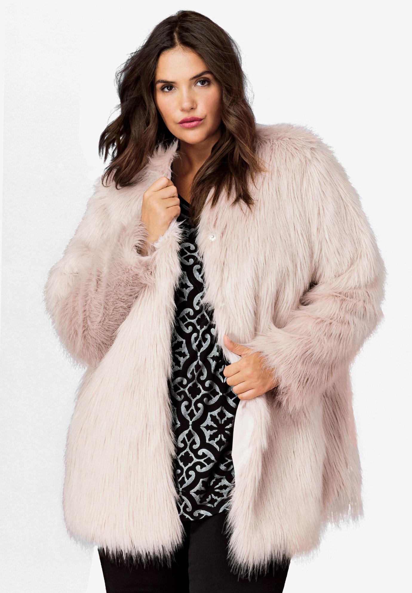 2a474531e0a Faux Fur Snap Front Coat by ellos®
