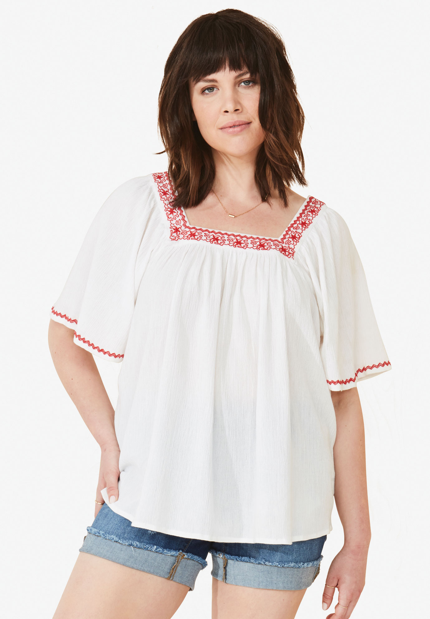 0854ee86215 Embroidered Gauze Blouse by ellos®