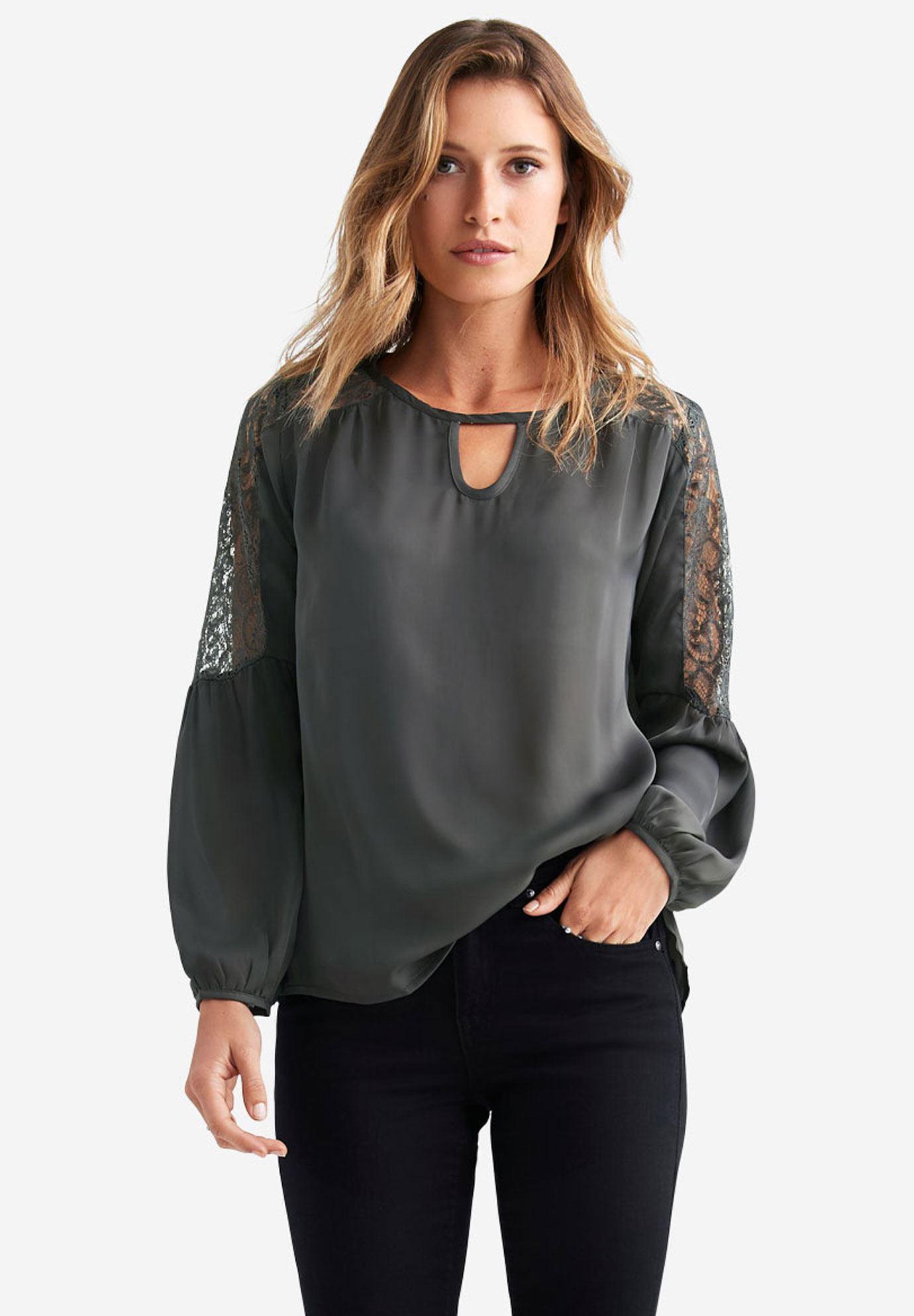 Keyhole Neck Lace Trim Blouse By Ellos Plus Size Blouses Shirts