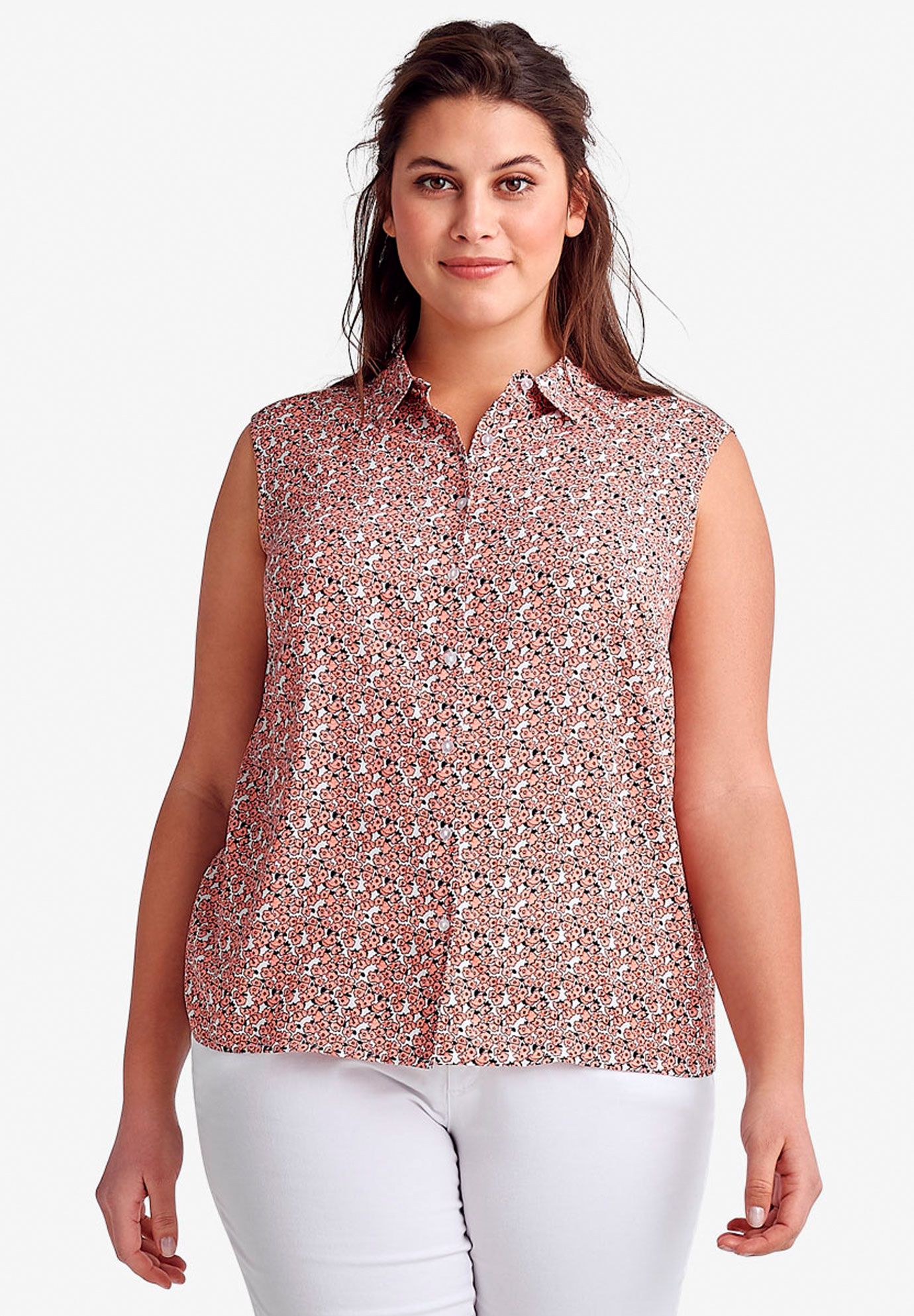 Sleeveless Button Front Blouse,
