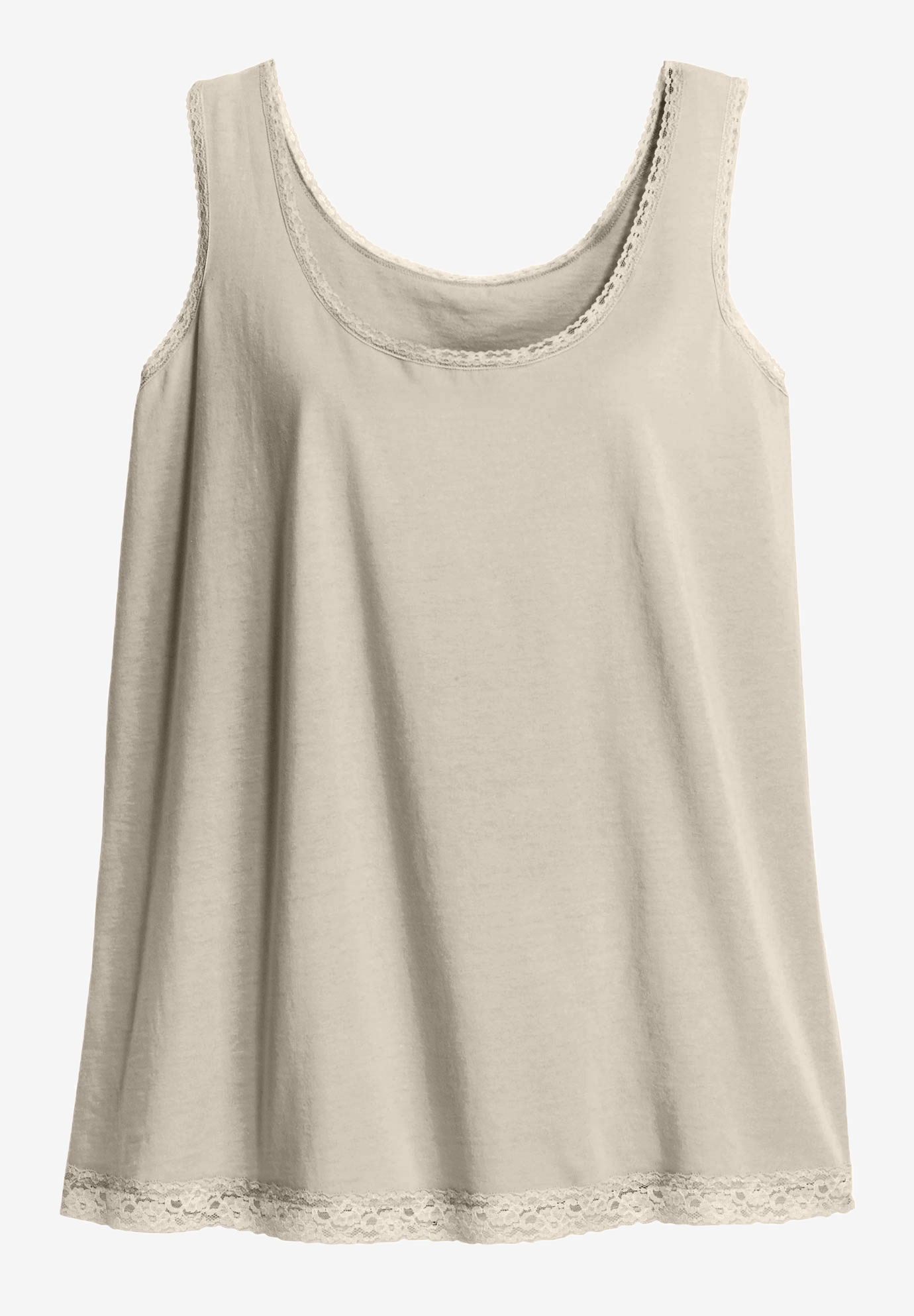 Lace Trim Scoop Neck Tank by ellos®,