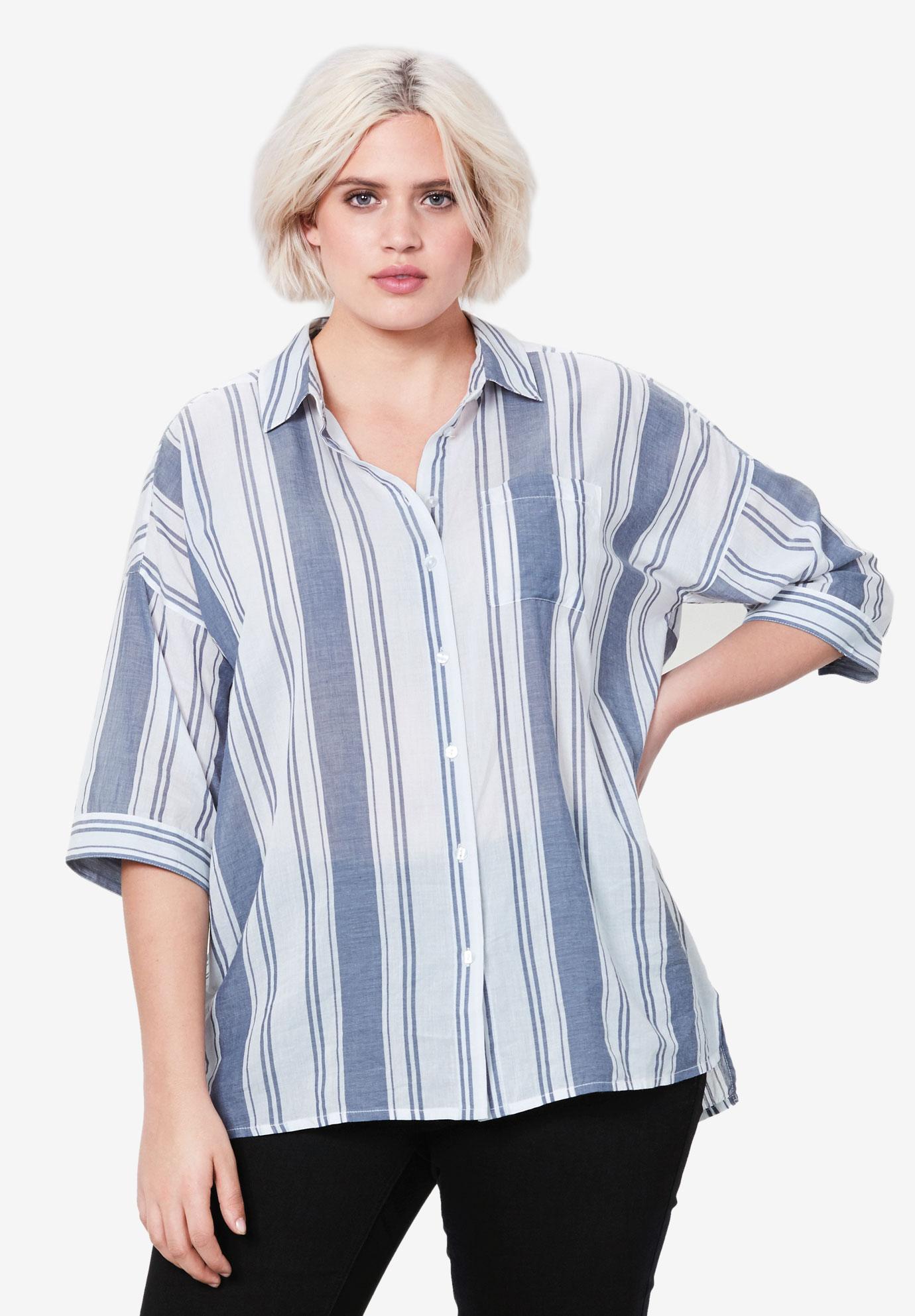 c14fde7d1429 Oversized Button-Front Shirt by ellos® | Plus Size Clearance | Ellos