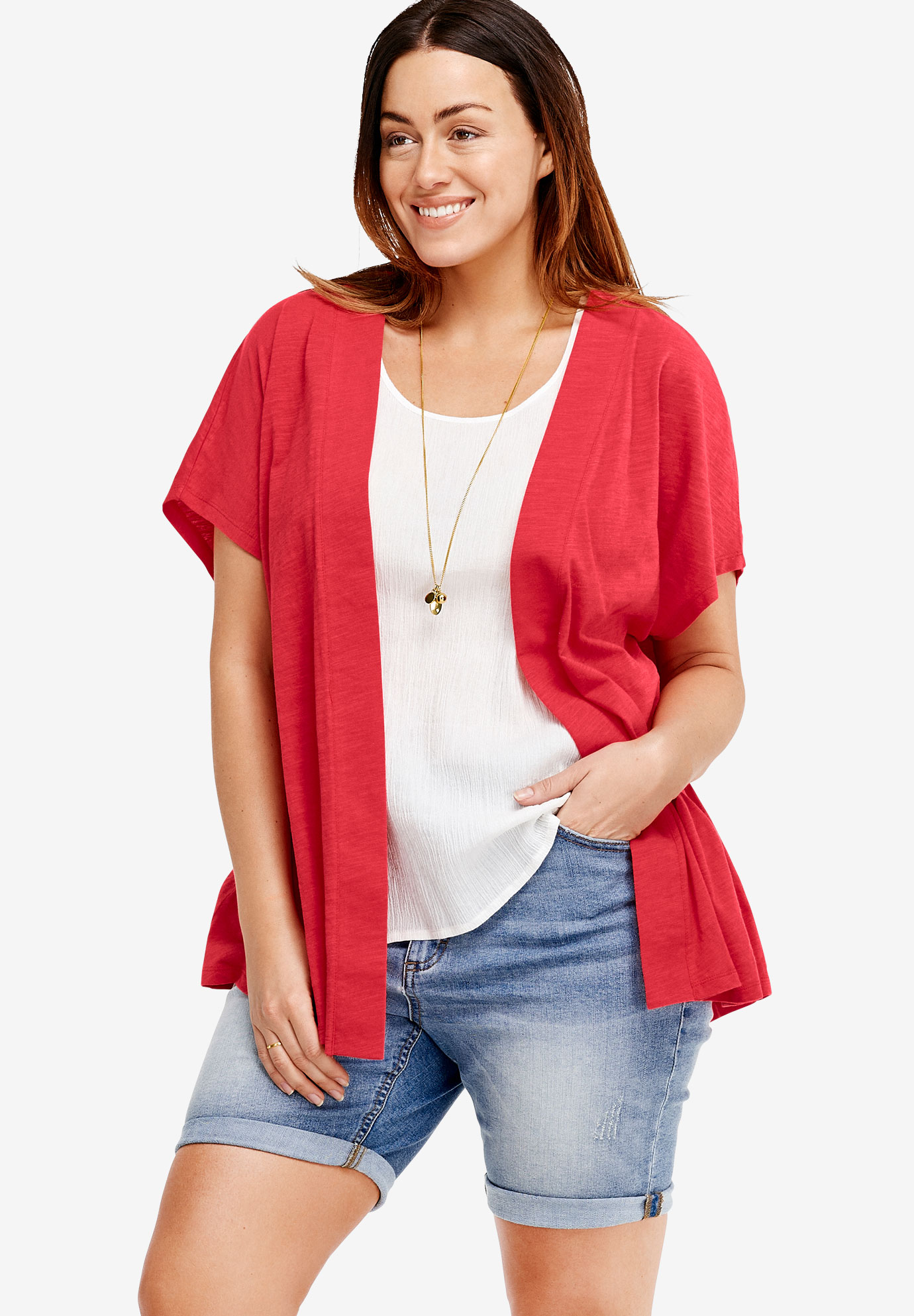 Short Sleeve Open Knit Cardigan by ellos®, CORAL RED