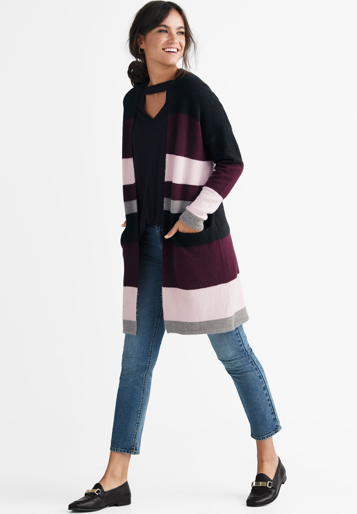 Striped Open Cardigan Sweater by ellos®, MIDNIGHT BERRY MULTI STRIPE