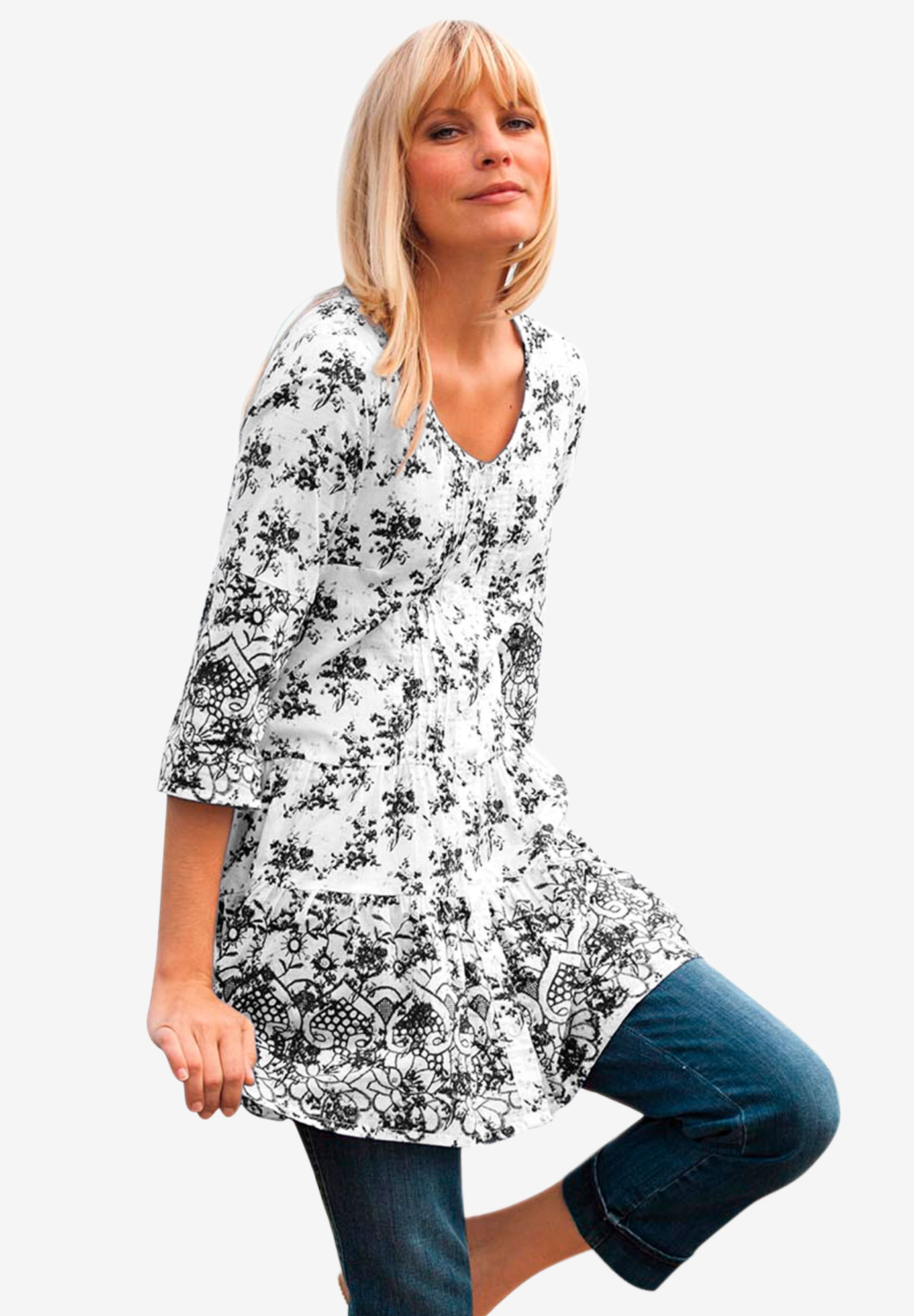 136002e2c20 Tiered Floral 3/4 Sleeve Tunic by ellos®| Plus Size Tunics | Ellos