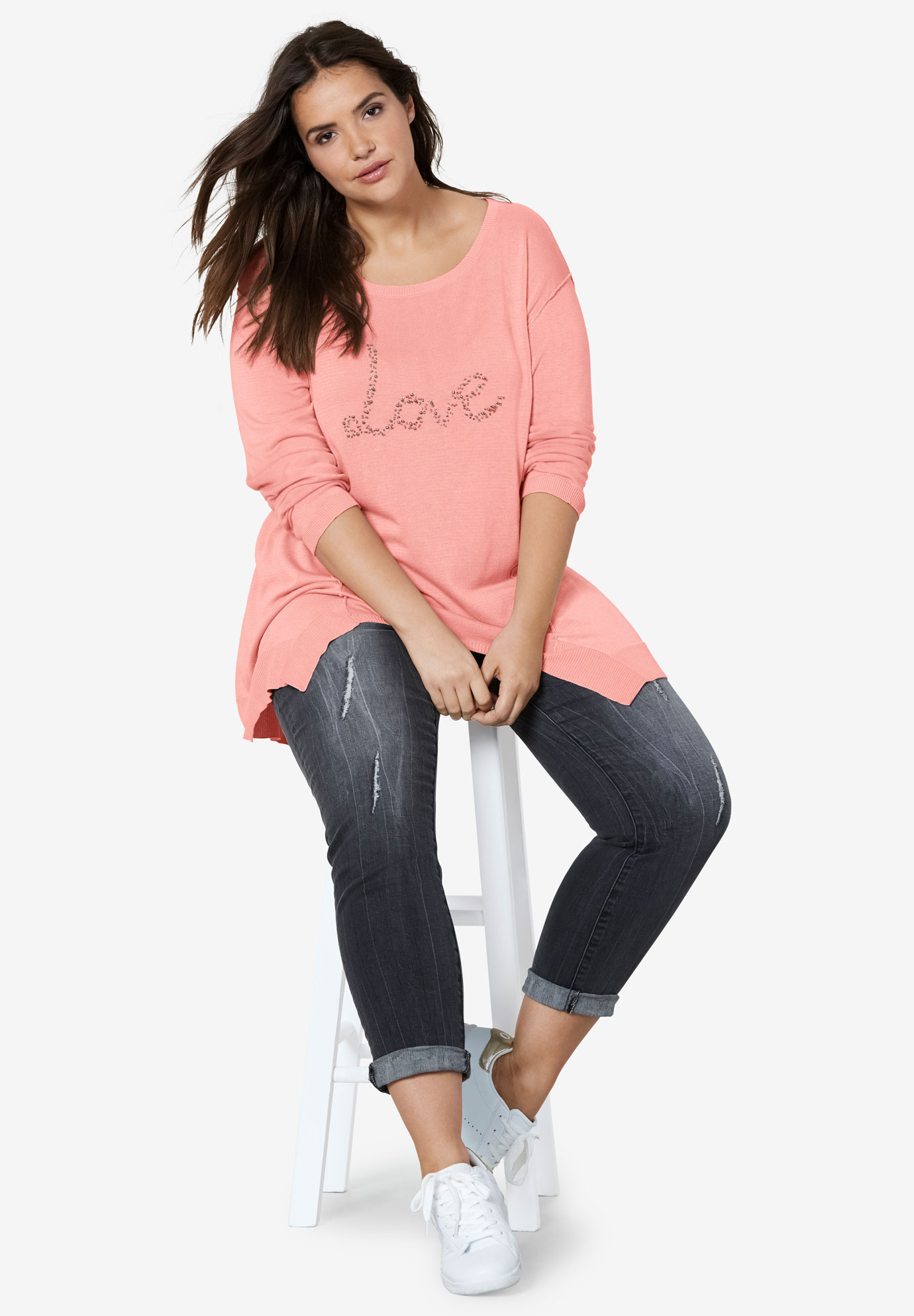 Beaded Applique Hanky Hem Sweater by ellos®,