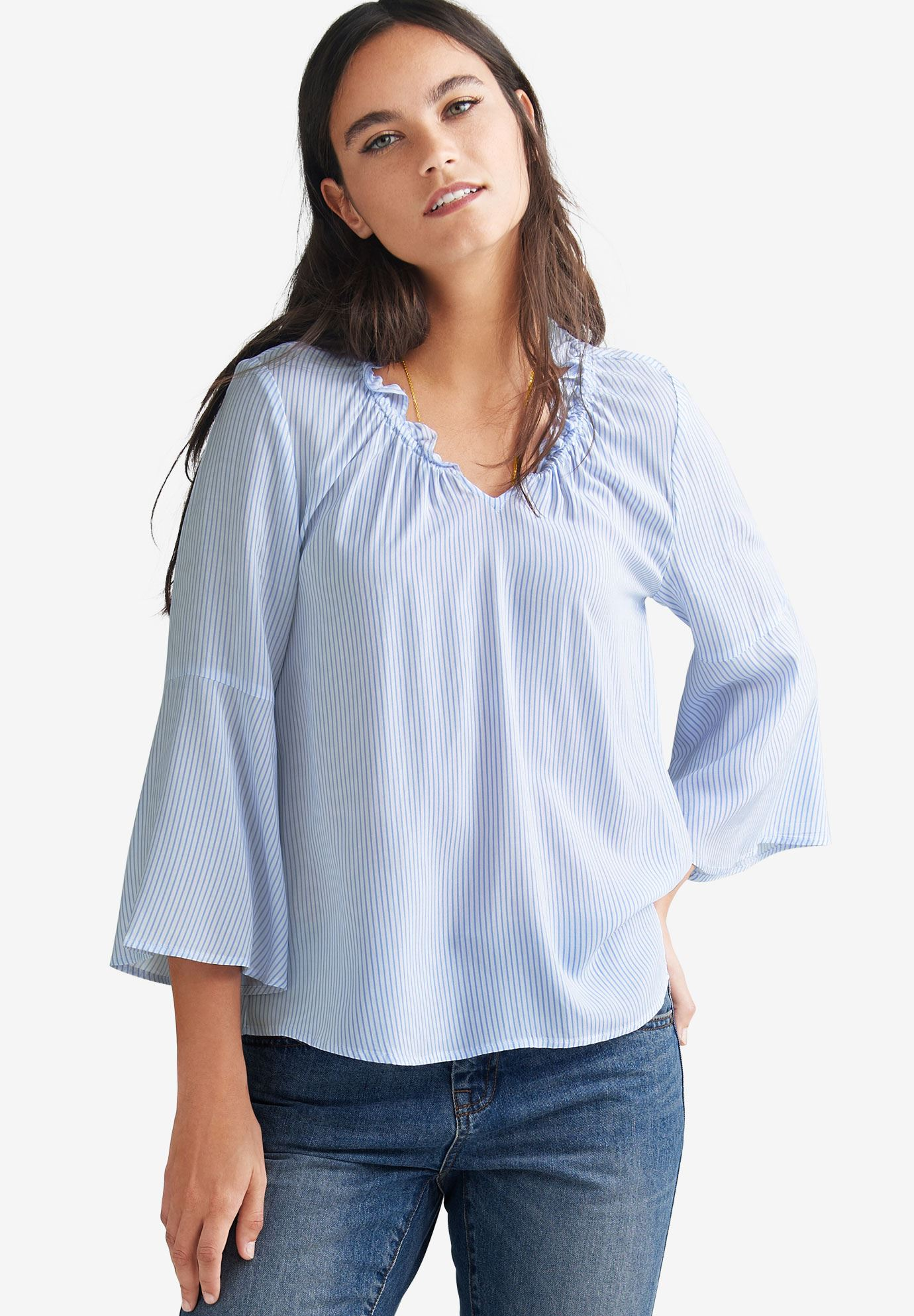Bell Sleeve Blouse By Ellos Plus Size Blouses Shirts Ellos