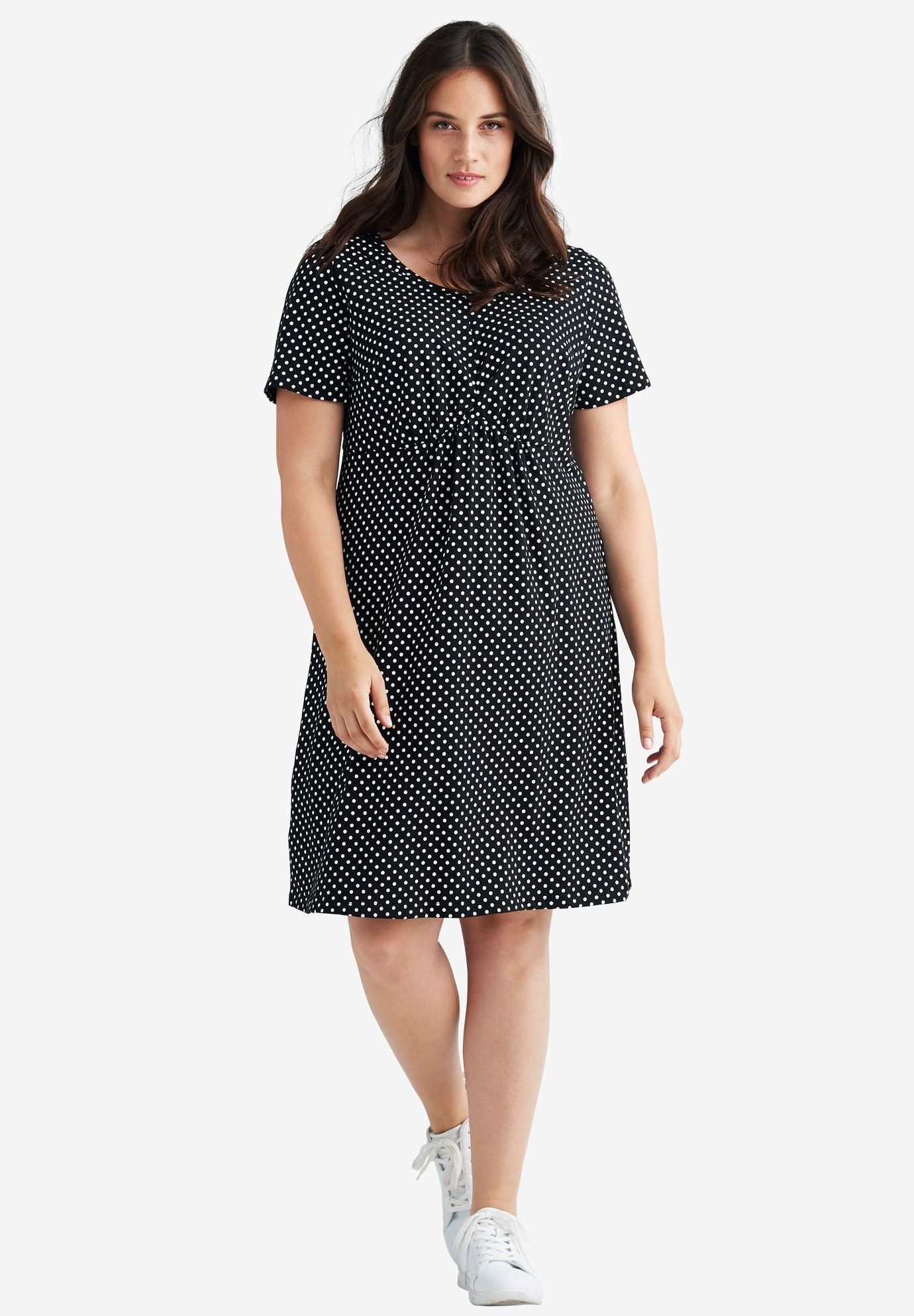 Polka Dot A-line Dress by ellos®| Plus Size Dresses | Ellos