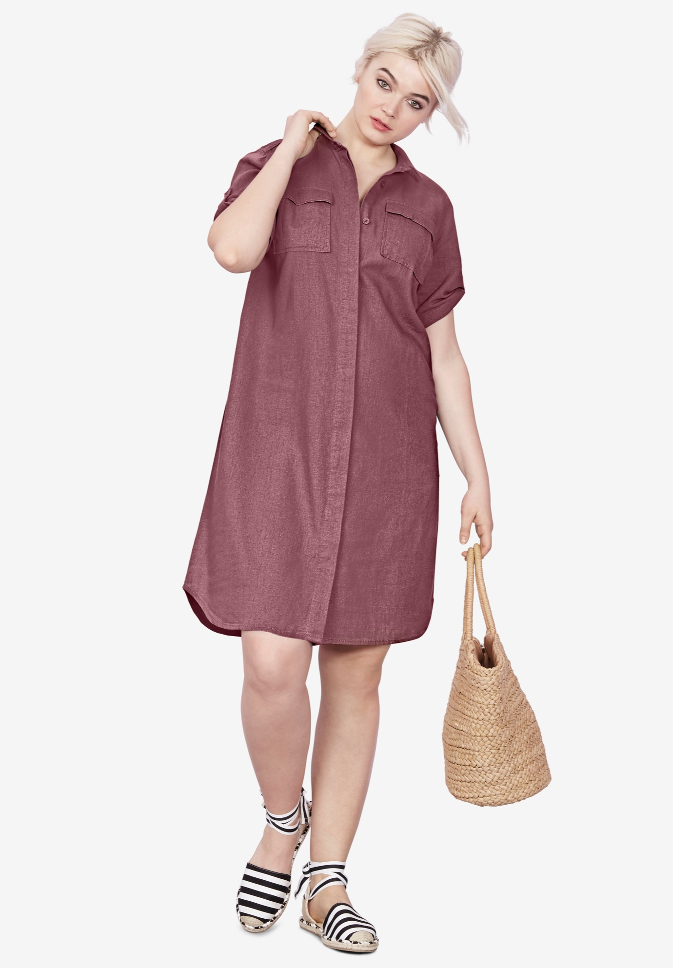 Button Front Linen Shirtdress,