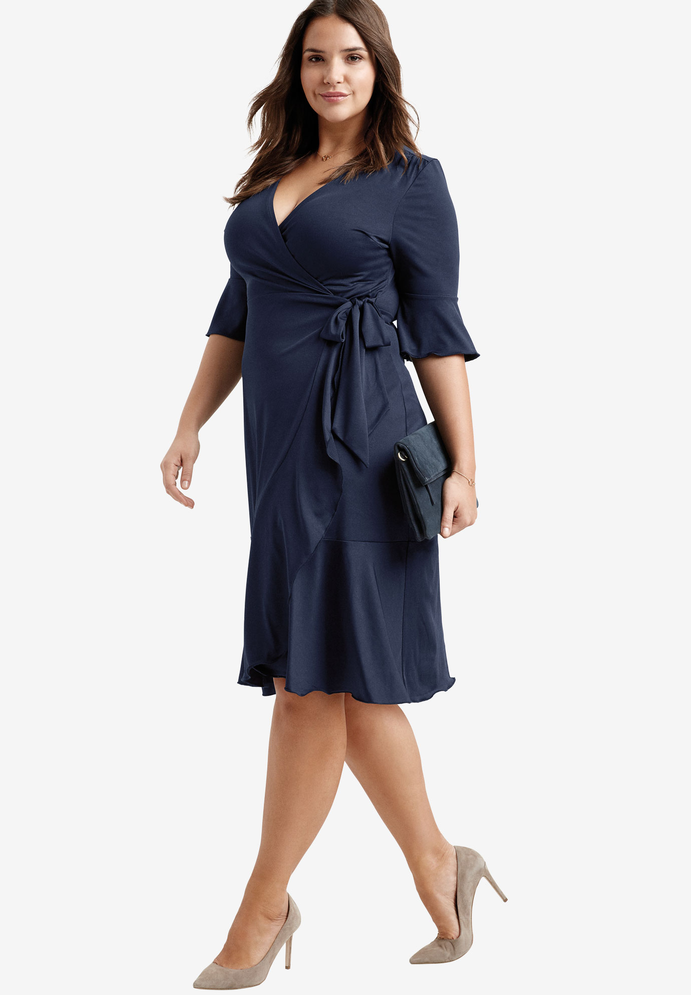 Ruffle Wrap Dress by ellos®, NAVY