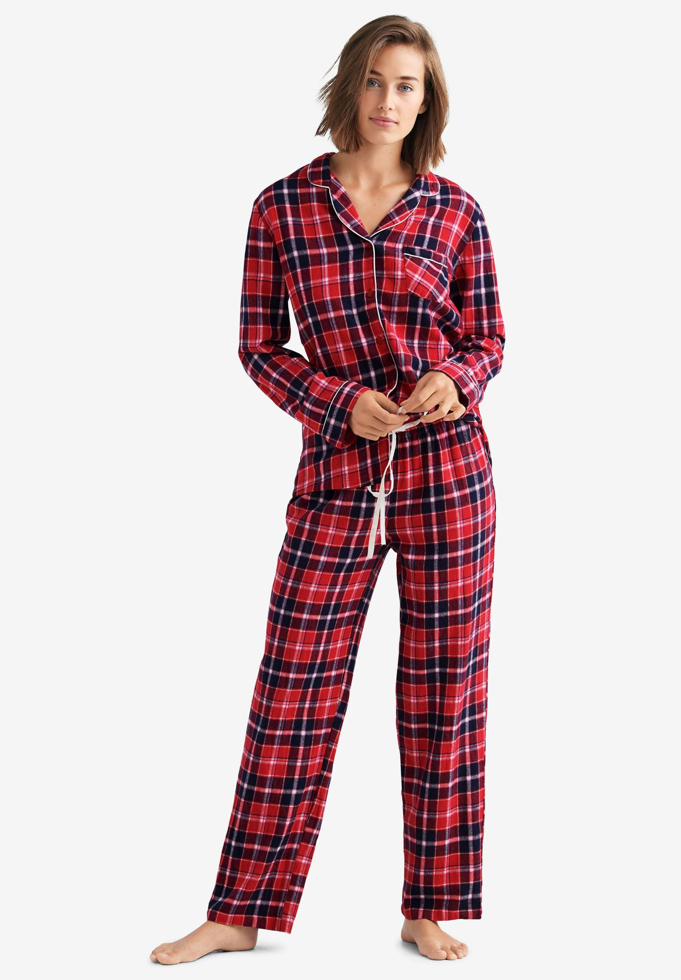 Plaid Flannel Pajama Set By Ellos 174 Plus Size Sleepwear