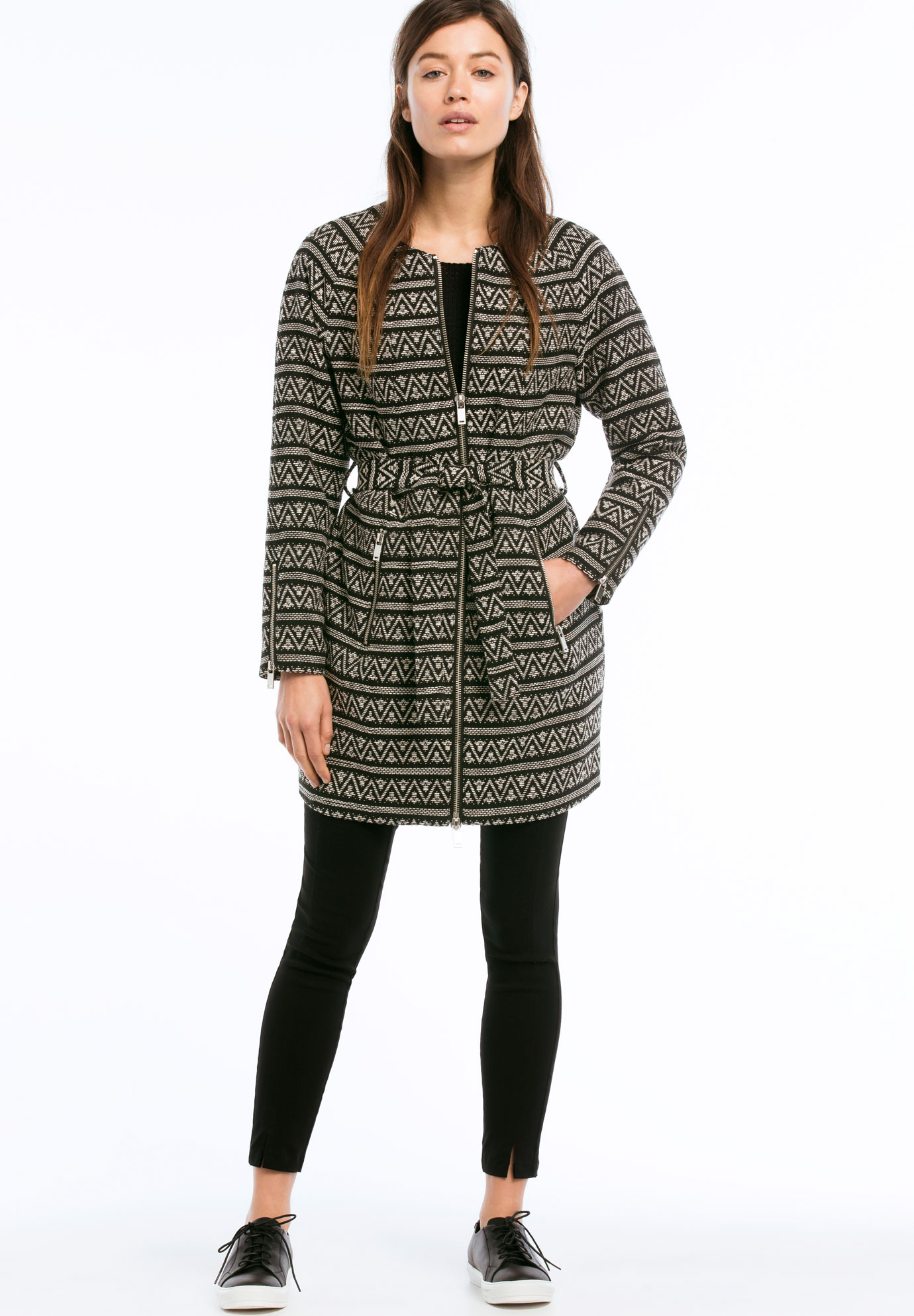 fdc491dd8b6 Zip Front Belted Jacquard Coat by ellos®