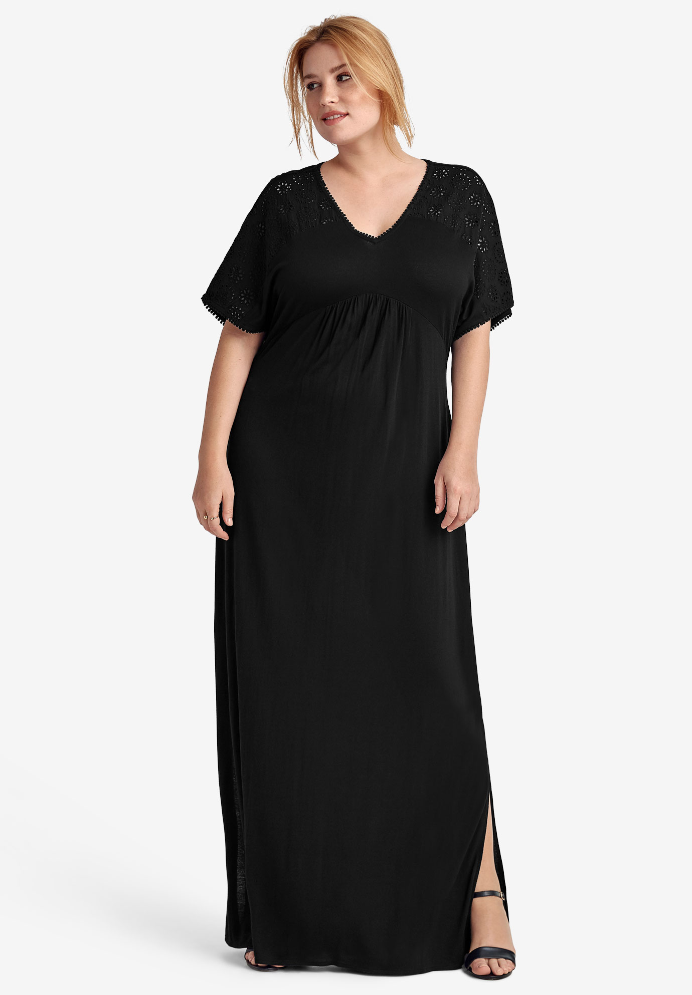 Eyelet Trim Knit Maxi Dress by ellos®,