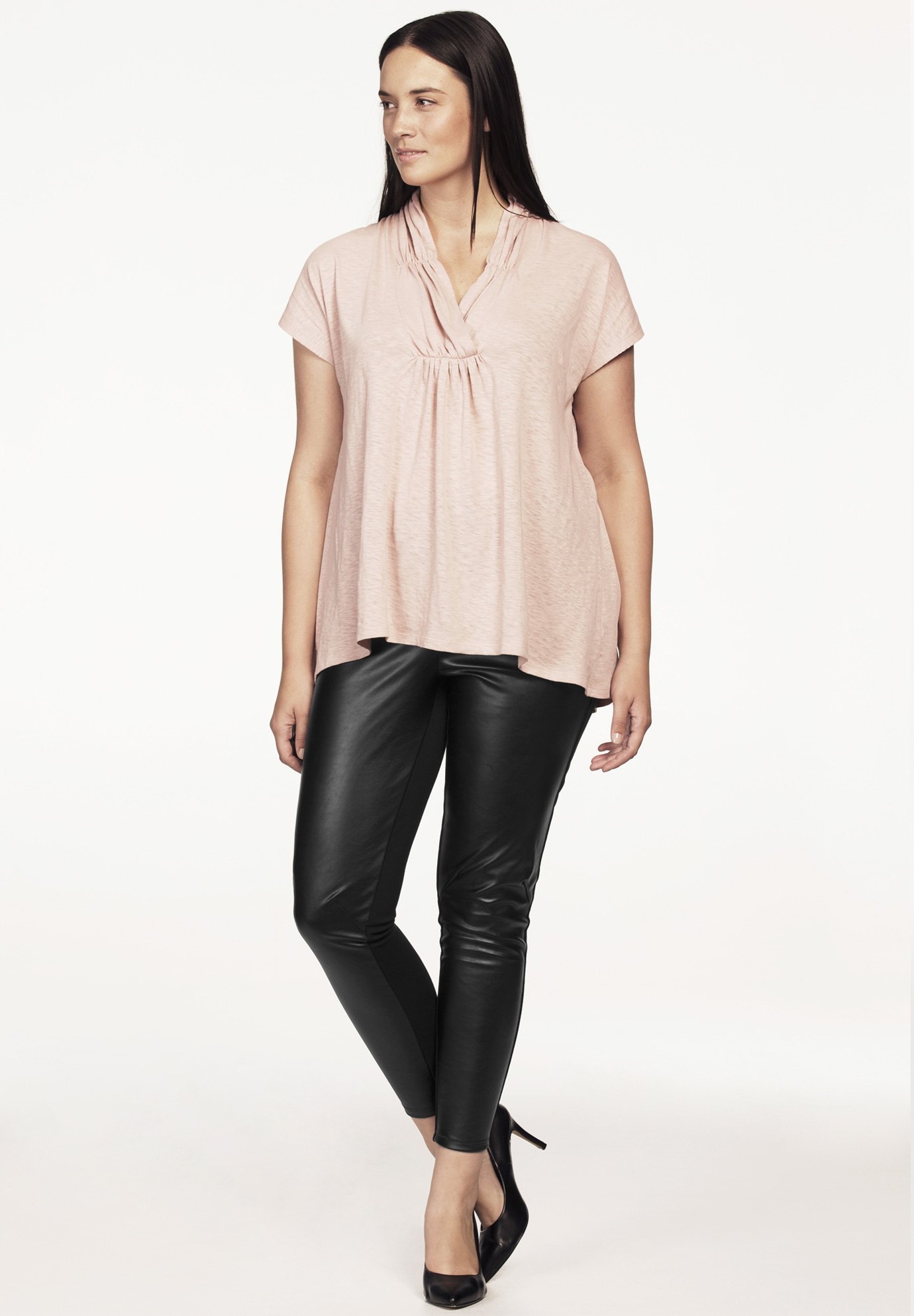 Faux Leather Front Ponte Leggings,