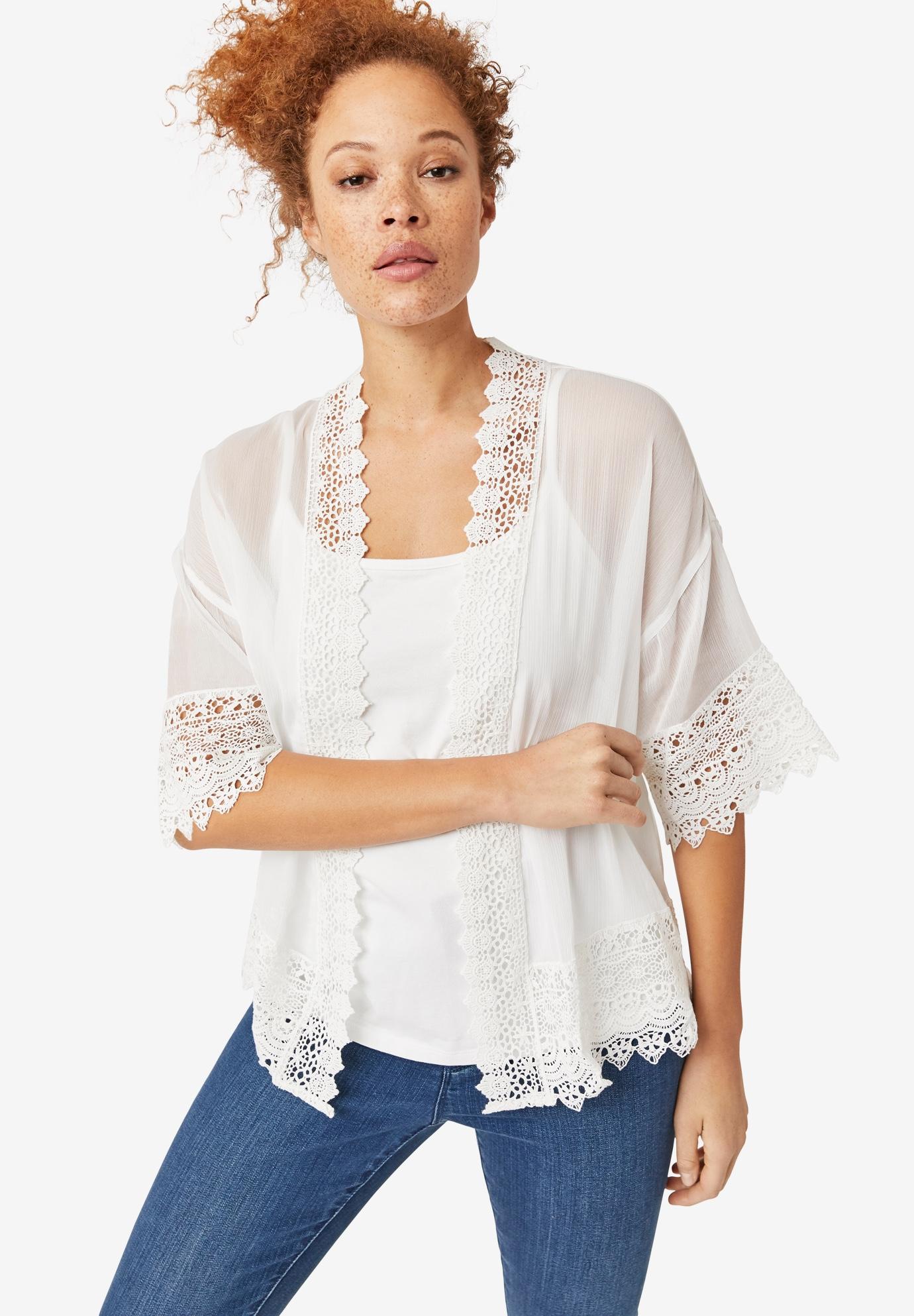 0f543a9e486c2 Sheer Lace Trim Kimono Cardigan by ellos®