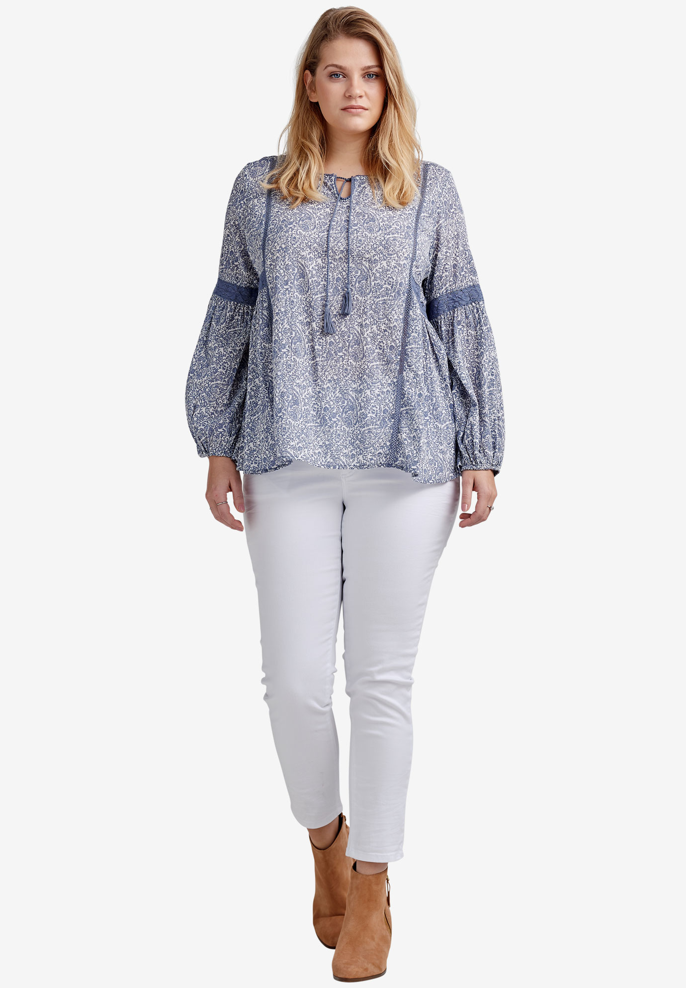 Lace Trim Peasant Gauze Blouse by ellos®,