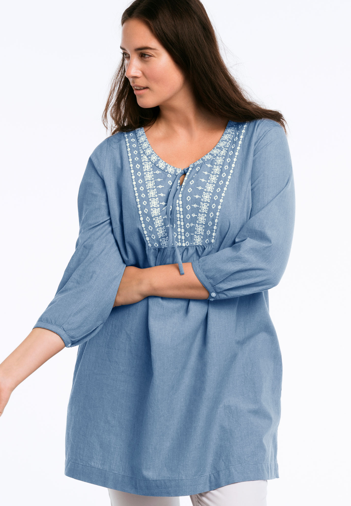 Embroidered 3/4 Sleeve Chambray Tunic by ellos®,