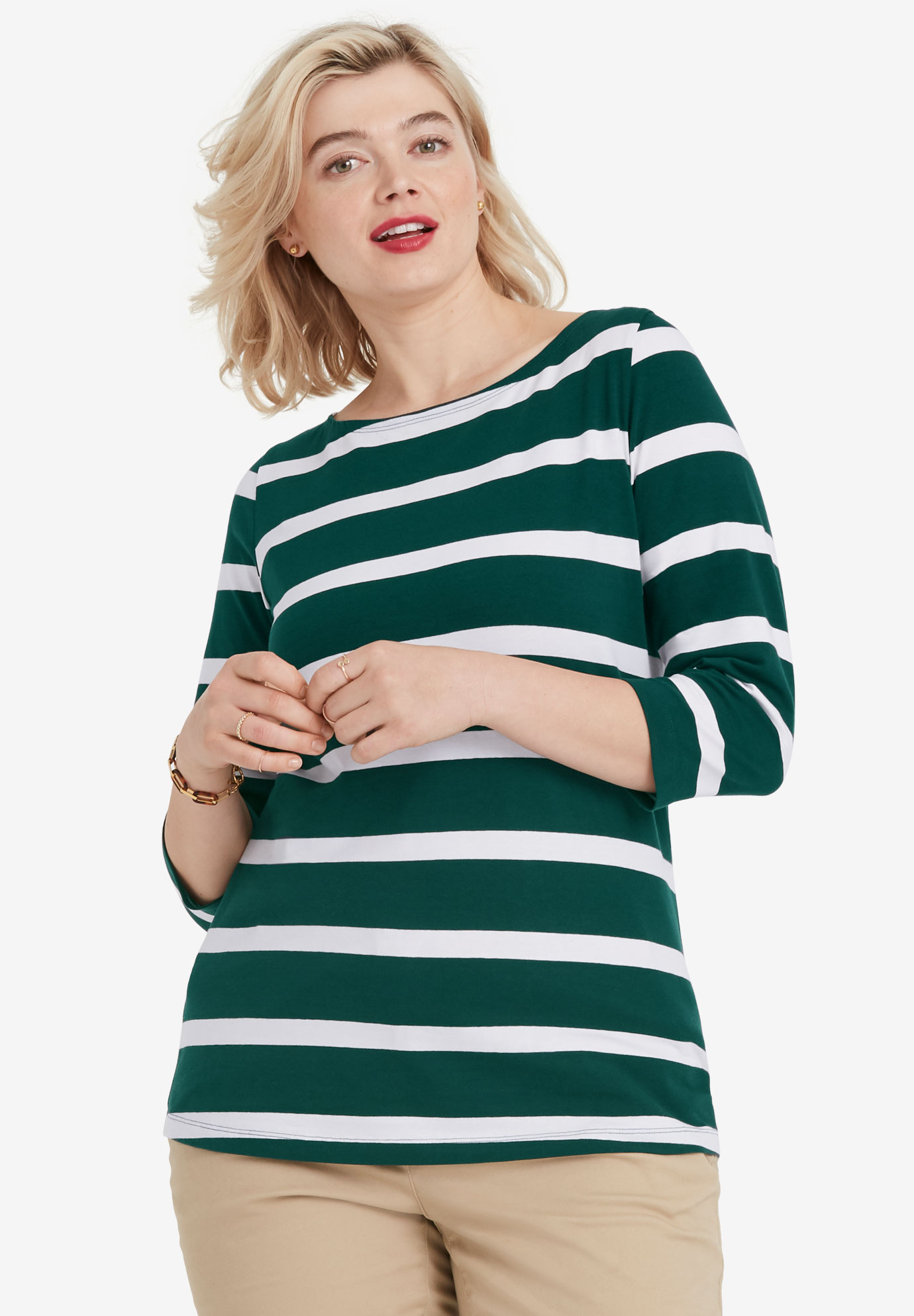 Striped Boatneck Tee by ellos®,