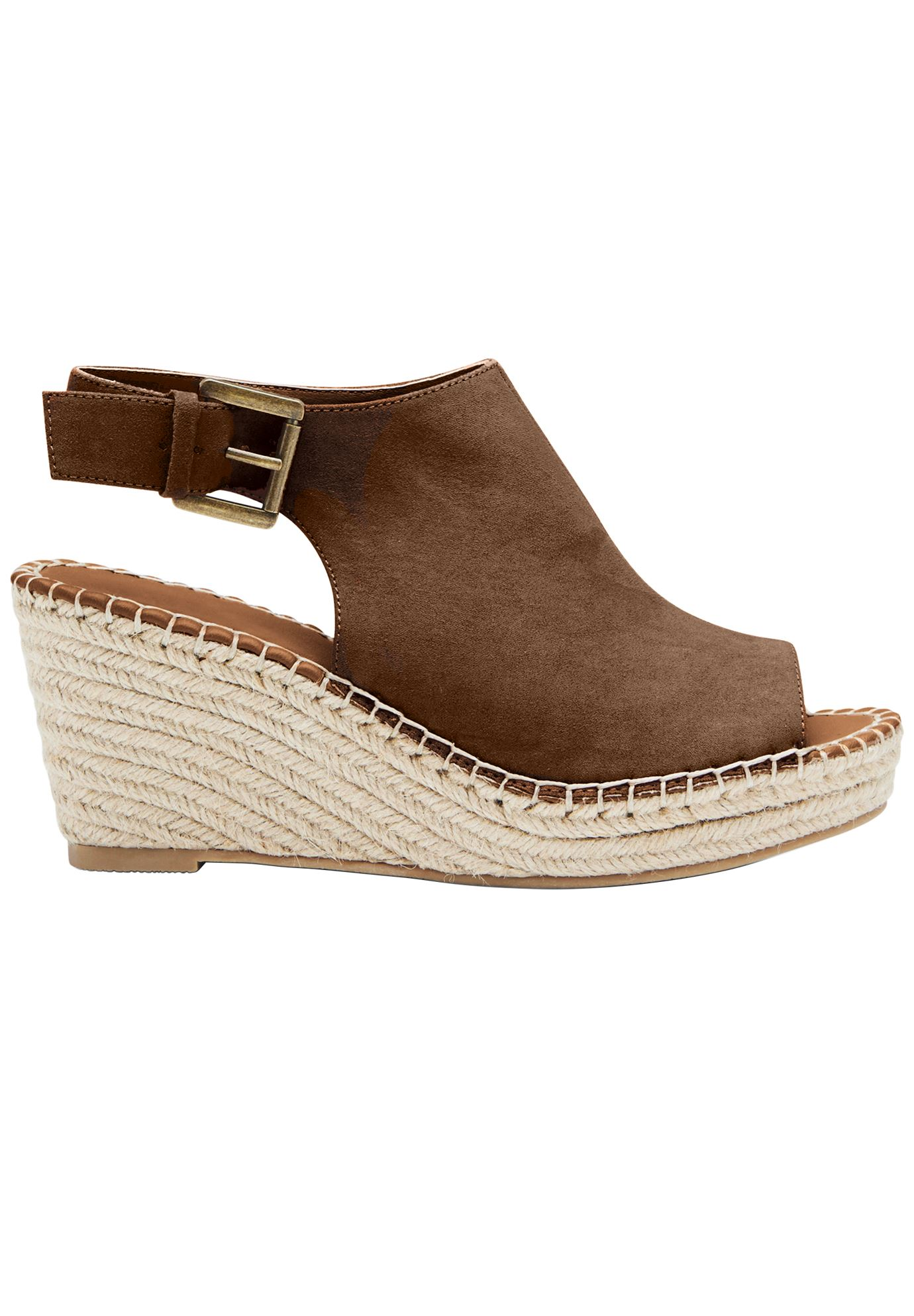 9b6168d2639 Faux Suede Espadrille Wedge Sandals by ellos®