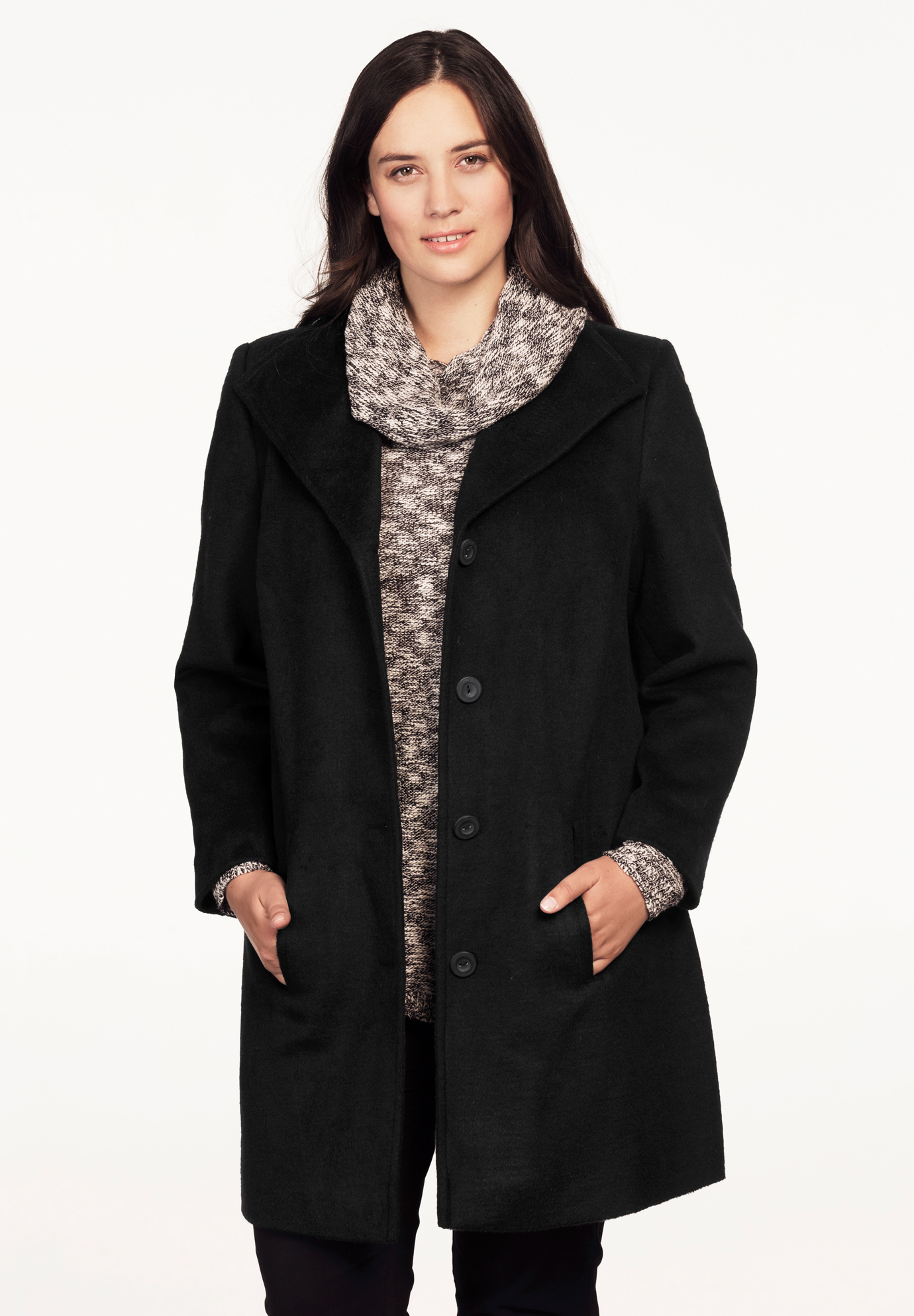 Brushed Wool-Blend Coat by ellos®,