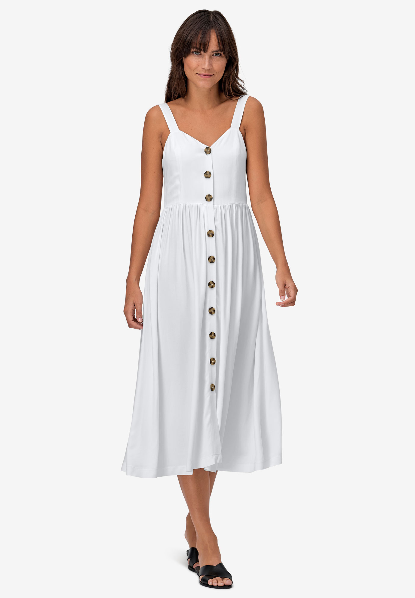 Button-Front A-Line Dress, WHITE