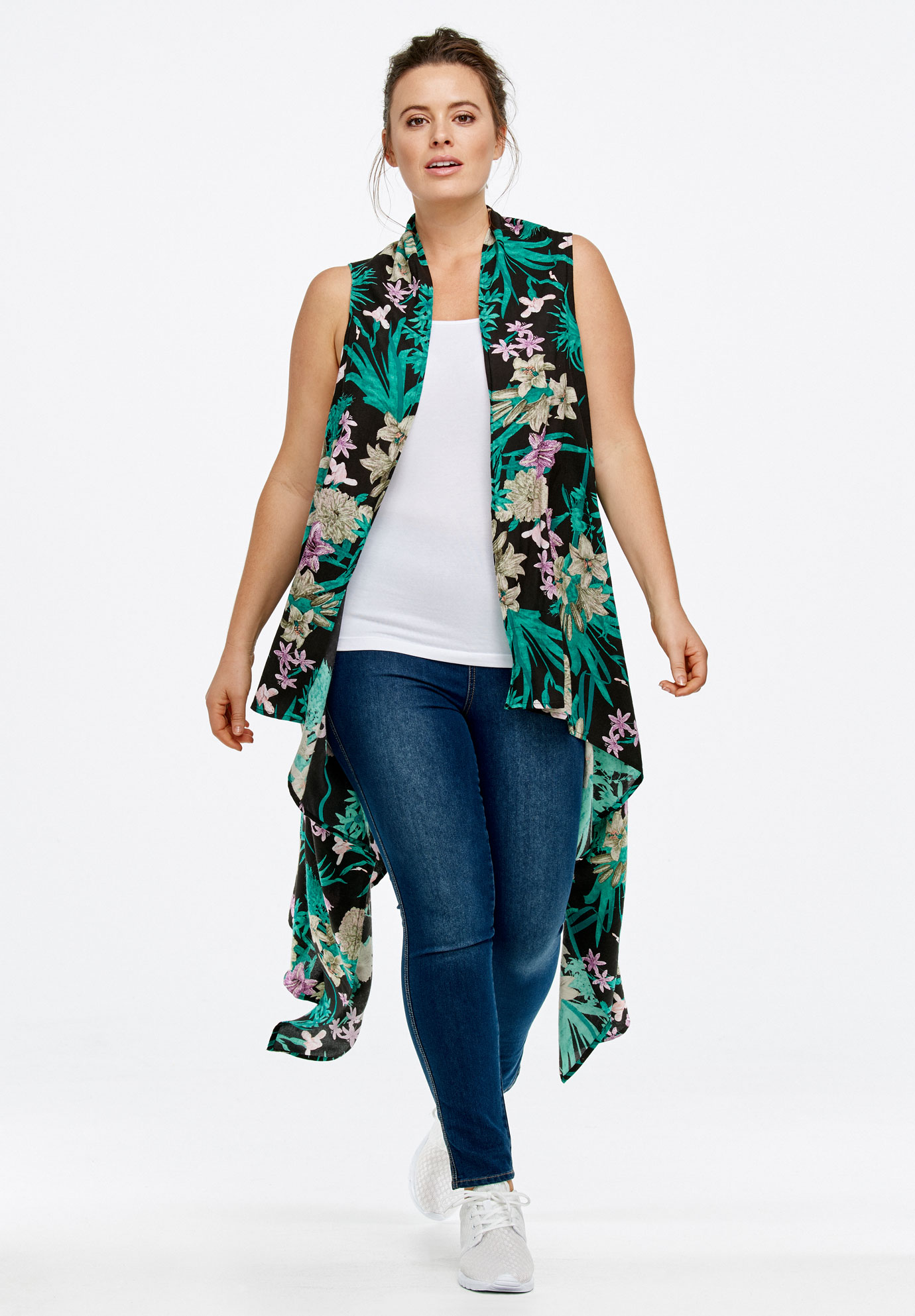 Printed Open Front Duster Vest by ellos®, BLACK FLORAL
