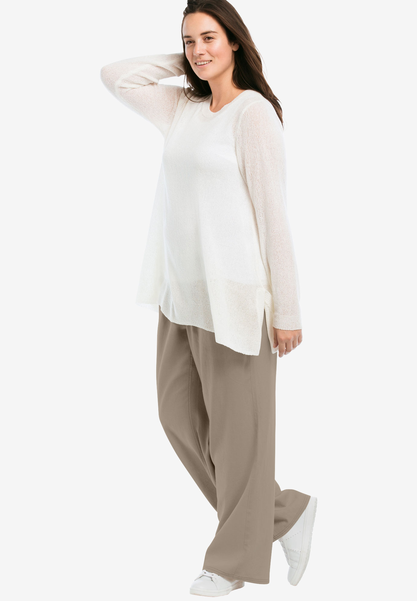 916a4ba9329 Linen Blend Wide Leg Pants by ellos®