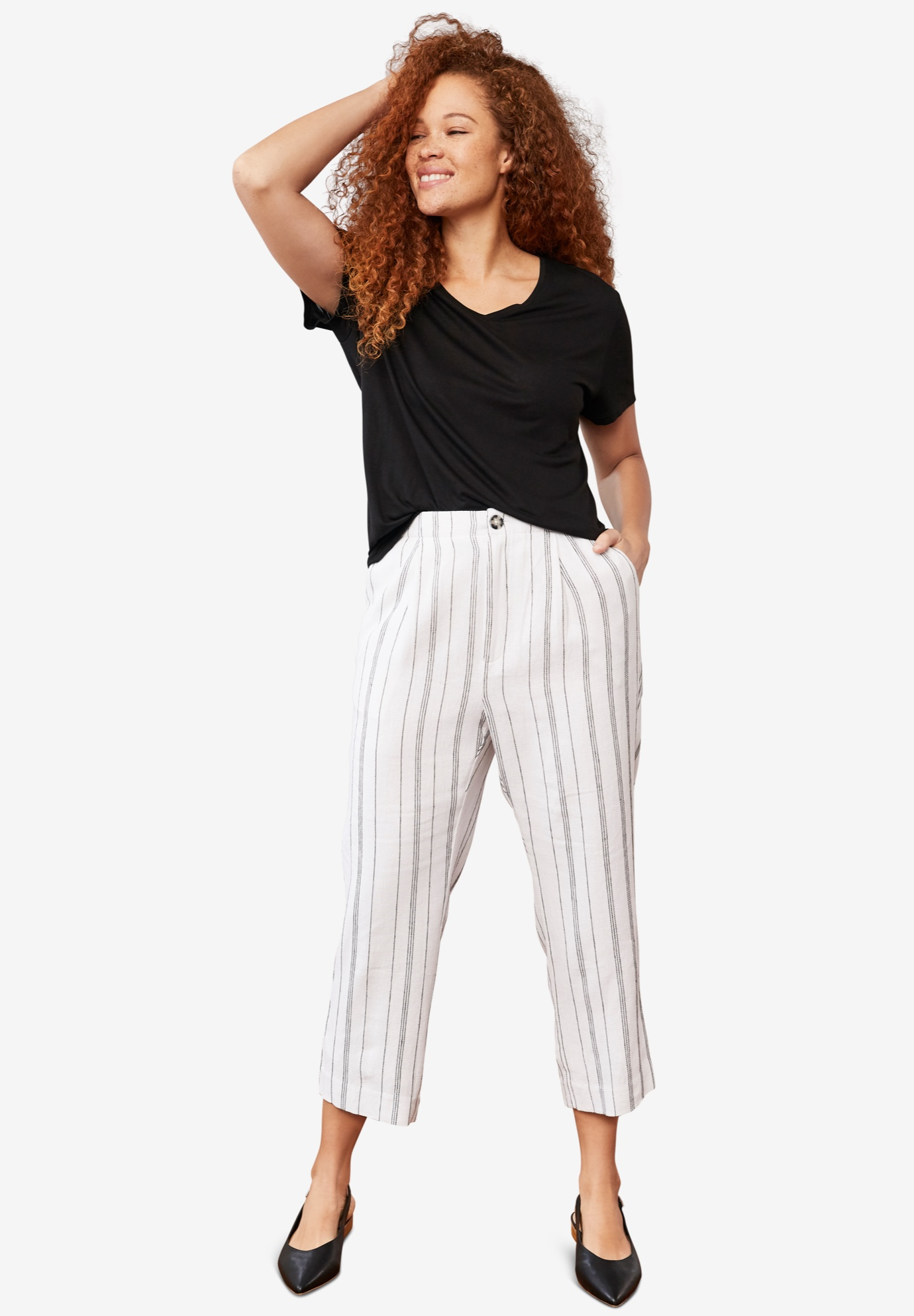 Straight Leg Cropped Linen Trousers,